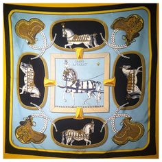 Vintage Hermes silk scarf with horses by 40SouthVintage on Etsy