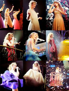 Taylor's Speak Now Tour outfits, they forgot the first gold dress...