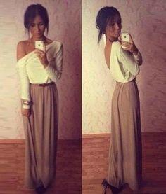 One-Shoulder Long Sleeve Color Block Chiffon Backless Dress