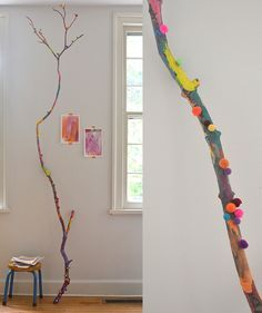 Kids Crafts A Painted Branch // Collaborative Art with Kids Chalk art Art Branch Chalk art projects Collaborative Crafts Kids painted Art For Kids, Crafts For Kids, Arts And Crafts, Painted Branches, Weaving For Kids, Easy Art Projects, Collaborative Art Projects For Kids, Family Art Projects, Clay Projects