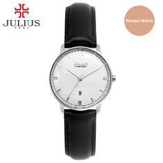 US $72.99 - Julius Fashion Japan Quartz Movt Stainless Steel Screw Back Case Leather Strap Auto Date Simple Classic Watch Women 2016 JAL-030