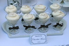 White chocolate mousse at a Silver and White New Year's Eve Party #mousse #newyears