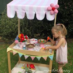 A small bite of mondocherry: IKEA hack - children's play shop  - forget the kid, do this as the party side table/ server or centerpiece on outdoor table