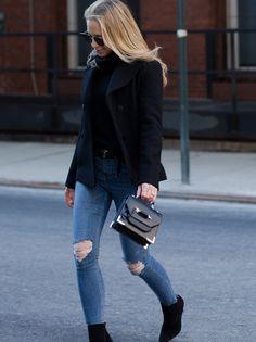 January 23, 2017 Monday by Brooklyn Blonde - Coat: Slate & Stone ℅ | Turtleneck: Banana Republic | Denim: Topshop | Boots: Louboutin | Sunglasses: Fendi | Handbag: Mackage | Belt: Saint Laurent