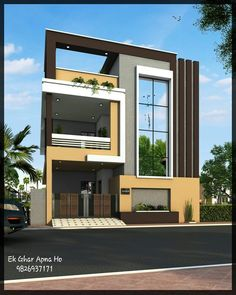 Home design exterior ideas in india: हाउस एलिवेशन डिजाइनिंग. House Outside Design, House Front Design, Modern House Design, 3 Storey House Design, Bungalow House Design, Indian House Plans, House Elevation, Facade House, House Layouts