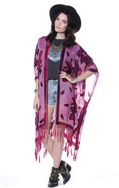 Woodstock Tie Dye Floral Velvet Burnout Tassel Kimono - Saltwater Gypsy #saltwatergypsy #kimonos