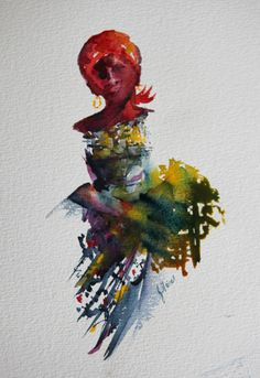 Carrying The Load Watercolour Figure Study Jean Haines