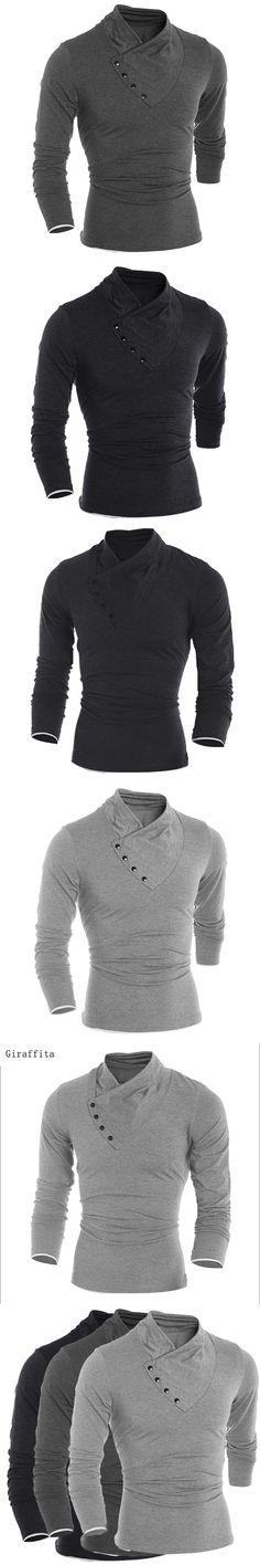 Giraffita 2017 New Autumn Mens Oblique Button Collar T Shirt Fashion Men Long Sleeve T Shirts slim Fit T-shirt Solid Tee 3 color