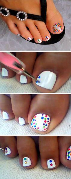 Summer Polka Dots   18 DIY Toe Nail Designs for Summer Beach   Easy Toenail Art Designs for Beginners
