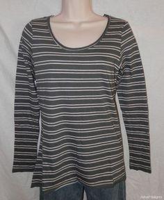 New Anthropologie Top Pure Good M Medium Gray White Skinny Stripes Tee Long SL | eBay