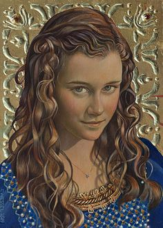 """Alicia"" (Study) - Fred Wessel, tempera and gold leaf {contemporary figurative…"