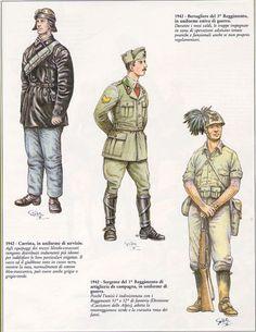 Regio Esercito - Carrista, 1942 - Sergente del 1° Reggimento Artiglieria da campagna 1942 - Bersagliere del 3° Reggimento 1942
