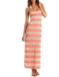 Crochet Back Striped Maxi Dress: Charlotte Russe