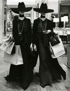 Saint Laurent - This is how I shop: dressed in black, ominous attitude, and always ALWAYS with evil twin in tow.