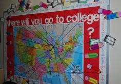 Great idea for a bullentin board to help students decide where to go to college.