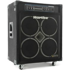 """Hartke VX3500 Bass Guitar Amplifier. This is a very popular 350W 4x10"""" combo bass amp and has an impressive dual preamp, loud volume and tone shaping features. The street price is under $800. For a detailed guide to Bass Amps see http://www.guitarsite.com/best-bass-amp/"""