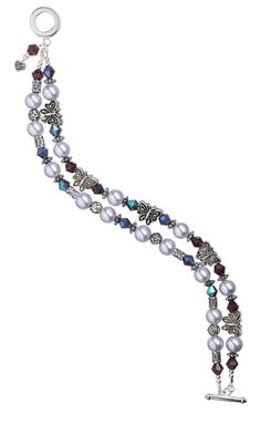 Jewelry Design - Double-Strand Bracelet with Glass Pearls and Antiqued Pewter Butterfly Beads - Fire Mountain Gems and Beads