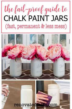 The EASIEST way to paint DIY mason jar crafts for centerpieces, home décor or baby showers in white, pastels or any color you choose. This DIY tutorial shows you how to paint mason jars with the best chalk spray paint & how to paint lids so they look rusty. Whether on a bathroom shelf or as a vase with flowers, vintage, distressed mason jars are a great addition to rustic farmhouse décor. Add glitter or gold paint for shower & wedding ideas. Spray Painting Glass, Chalk Spray Paint, Best Spray Paint, Diy Painting, Spray Paint Mason Jars, Tinted Mason Jars, Frosted Mason Jars, Mason Jar Crafts, Mason Jar Diy