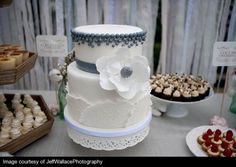 Silver Pearls, White Flower & Lace