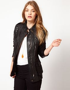 Urban Code Leather Jacket With Quilting