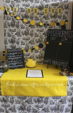 What a fun Bumble Bee Gender Reveal Baby Shower!    See more party ideas at CatchMyParty.com!  #partyideas #babyshower