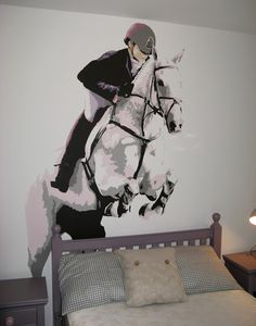 For all those horse lovers, here is a mural that I painted which is very clever. Use the head board as a horse jump, it's very effective. Also this mural is perfect for a little girl right to her teens. The use of violets and greys keep the design modern and is suitable for any style of home. By Carren Lu