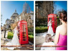 Bride Charli St Pauls London.  Red telephone box. Basingstoke wedding photographer. Hampshire.