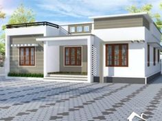 Single Floor House Design, Small House Design, House Design Photos, House Front Design, Village House Design, Kerala House Design, New Model House, Flat Roof House Designs, Minimal House Design