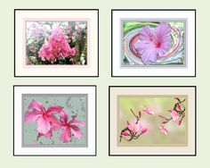 Wall Grouping of Four Soft, Peaceful Florals. 8 x 10 Total Size with Printed Faux Mats. Easy to Frame. Lovely Wall Decor. DIY.