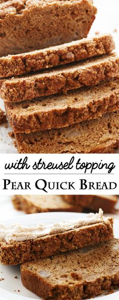 Pear Quick Bread with Streusel Oven – What to do with the overripe pears sitting at your counter? Make a simple pearl fast bread out of them! Great for coffee, for snacks, and it freezes well. Banana Recipes, Fruit Recipes, Muffin Recipes, Cake Recipes, Pear Recipes To Freeze, Pear Loaf Recipes, Jelly Recipes, Appetizer Recipes, Recipes