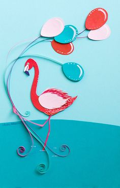 Pink Flamingo holding Magenta and Teal Blue by EclecticIllustrator