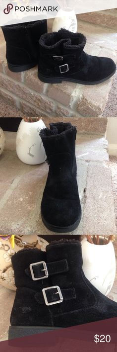 Fuzzy Ankle Boots Black fuzzy ankle booties. Open with a black zipper on one side and detailed with silver buckles. Sturdy thick soul on bottom of the shoe. WORN LESS THAN A HANDFUL OF TIMES. Rocket Dog Shoes Ankle Boots & Booties