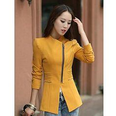 TS OL Style Zip Bub Sleeves Slim Cut Blazer