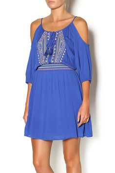 Blue cold shoulder dress with embroidered detailing at the neckline andanelastic waist. Wear this dress with woven sandals and colorful beaded accessories.   Cold Shoulder Dress by Flying Tomato. Clothing - Dresses - Casual Clothing - Dresses - Mini Chicago, Illinois