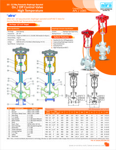 2/2-3/2 Way Pneumatic Diaphragm Operated On/Off Control Valve High Temperature
