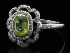 Delphi Antiques - Peridot and Diamond Ring OR010 | Perfect Ring