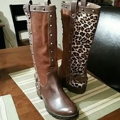 """leopard & brown suede boots flat boots These great boots have never been worn and still have tags Leather foot Suede front and """"pony hair fur"""" in leopard goes up back Side zipper from ankle to mid leg for easy entry Antique gold-ish studs detailing Very cute !! Steve Madden Shoes"""