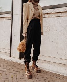 boho street style The Level Store Camel Blazer , The Bazilika Cashmere Roll-neck , Arket Wool Flannel Trousers , Jonak Lace-up Boots, Carolina Santo Domingo Shearling Bag Mode Outfits, Casual Outfits, Fashion Outfits, Fashion Trends, Travel Outfits, Fashion Shoes, Looks Style, Street Style Looks, My Style