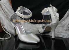 ivory wedding shoes beaded satin round head 6 cm high