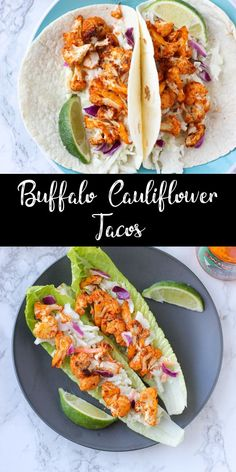 Recipes Cauliflower These spicy buffalo cauliflower tacos can be made in the oven or the air fryer! They're perfect for a meatless meal or low carb dinner. If you love spicy food, you HAVE to try these tacos! Spicy Recipes, Veggie Recipes, Healthy Dinner Recipes, Mexican Food Recipes, Vegetarian Recipes, Chicken Recipes, Vegetarian Lifestyle, Vegetarian Barbecue, Hamburger Recipes