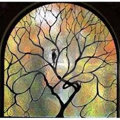 Stained Glass Tree of Life Shower Curtain by vixonsofvintage
