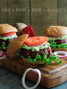 BBQ beef beet burger #recipe from Running to the Kitchen