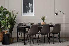 BETTY Bord 180 Betong/Svart + 6 FREDAN Stol Grå - Matgrupper Dining Table, Dining Sets, Conference Room, Furniture, Home Decor, Products, Dinner Sets, Decoration Home, Room Decor
