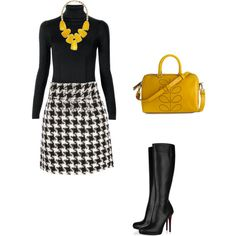 Love this outfit.......the yellow is bold and daring