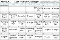 Workout challenge chart - just add: day 1 run,  day 2 weights +, day 3 Spin, day 4 weights +, & rotate. Mix up the time of day of w.o. - keep the body guessing = no muscle plateaus!