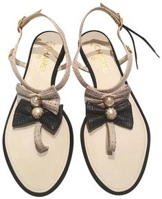 5c8bdf3e6 Beige and Black New - Perforated Leather T Strap Bow Pearls Sandals