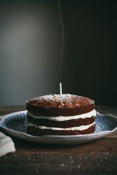 Brown Butter Pumpkin Cake w/ Whipped Cream Cheese & Honey