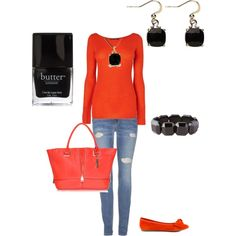 """""""Orange and Black"""" by glendalcreech on Polyvore"""