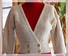 The wonderfully soft Yak/Cormo blend looks great in this simple lacy pattern for a cardi with elbow length dolman sleeves.