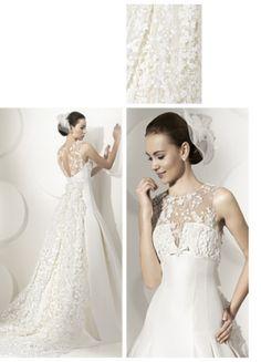 Pretty Lace A-line Sleeveless Scoop Neckline Chapel Train Wedding Dress